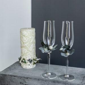 Pulmapokaalid, pulmaküünal. pulmakomplekt pokaalide ja küünlaga