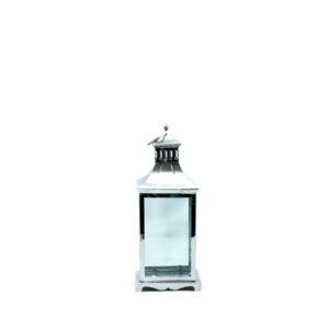 hõbedane, klaasiga latern küünlale
